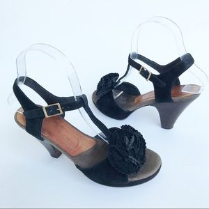 Chie Mahara Anthropologie Black Suede Rose Heels